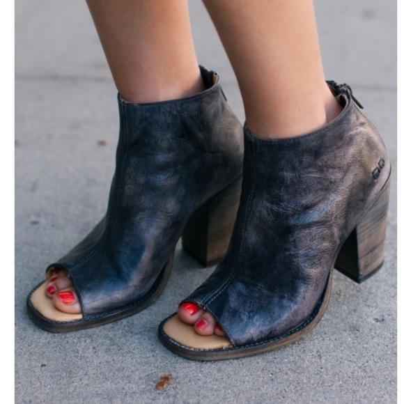 Bed Stu Onset Leather Peep Toe Booties
